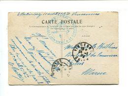 """Cp - CP  En Franchise Militaire Avec Cachet """"11e Régiment D'Arti. à Pied 5e Batterie *Le Capitaine*"""" Vincennes 1916 - Storia Postale"""