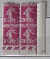 Semeuse 20 C. Rose 190 En Bloc De 4 Coin Daté - 1906-38 Sower - Cameo