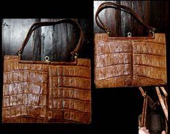 Ancien Très Beau Sac à Main Couture En Cuir De Crocodile ASSIMA / Vintage Couture Crocodile Leather Bag ASSIMA - Autres Collections
