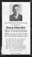 Doodsprentje / Bidprentje / Avis De Décès / Sterbebild / Sterbebilder / Obergefreiter / Georg Schneider / 1942 / 2 Scans - Obituary Notices