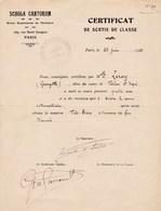 Vincent D'indy Compositeur De Musique Signature Sur Certificat De Classe ( Diplome)  De Schola Cantorum Autographe - Autographes