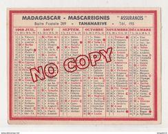 Au Plus Rapide Calendrier Publicité Assurances Mascareignes Tananarive Madagascar Année 1948 Très Bon état - Calendriers