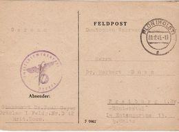GUERRE 40 45 MARQUE MILITAIRE LAZARETT ECRITE  20 12 1945 MENTION DEUTSCHE WEHRMACHT PEU COURANT  TEXTE INTERESSANT - Collections