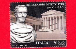 ITALIA - Usato - 2017 - Bimillenario Della Morte Di Tito Livio - Busto E Foro Di Augusto - 0,95 - 6. 1946-.. República