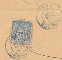 Hérault  15c Sage O. Cad 84 Bleu Vias  1897  /ESC - Marcofilie (Brieven)