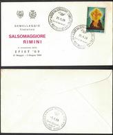 """LT117   Annulli Speciali Salsomaggiore Terme  """"XIV MOSTRA EFIST '69"""" + """"ESPOSIZIONE SCOUT '69"""" Riccione - 1961-70: Storia Postale"""