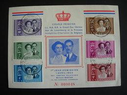 Luxembourg. 465/10 Couple Princier Sur Carte 1er Jour: 1.4.1953. Jean De Luxembourg Et Joséphine-Charlotte De Belgique - Luxemburg