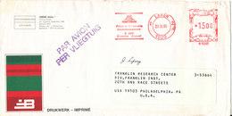 Belgium Cover With Meter Cancel Laken 20-9-1985 Sent Air Mail To USA - Belgium