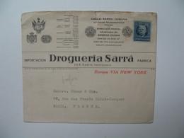 Lettre Perforé   Perfin   SA RRA  Cable Sarra - Habana  Drogueria Sarra    Havana Cuba - Cuba