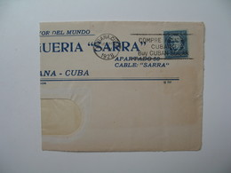 Devant De Lettre Perforé   Front Of  Cover Perfin   SA RRA  Cable Sarra - Habana  Drogueria Sarra    Havana Cuba - Cuba