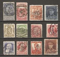 Belgique - Perfins - Perforés - Petit Lot De 12° - Léopold II - Albert Ier - Armoiries - Petit Sceau De L'etat - Briefmarken