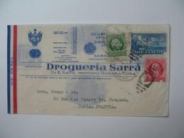 Lettre Perforé    Perfin   SA RRA  Cable Sarra - Habana  Drogueria Sarra    Havana Cuba  1937  Voir Cachet Ovale 1 - Cuba