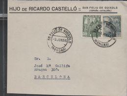 3268  Frontal De Carta San Feliu De Guixols 1955 , Gerona , Girona - 1931-Tegenwoordig: 2de Rep. - ...Juan Carlos I