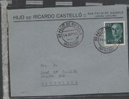 3268  Frontal De Carta San Feliu De Guixols 1956 , Gerona , Girona - 1931-Tegenwoordig: 2de Rep. - ...Juan Carlos I