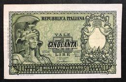 50 LIRE Italia Elmata 1951 Di Cristina Sup LOTTO 464 - [ 2] 1946-… : Républic
