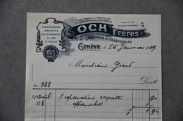 Facture Och Frères Jouets, Feux D'artifices...à Genève (Suisse), 1909 - Suisse