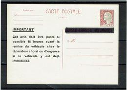LINT 5  - EP CP MARIANNE DE DECARIS REPIQUAGE BUREAU COMMUN AUTOMOBILE - Entiers Postaux