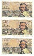 3 Billets RICHELIEU 10 NF - 1959x3    Etat D'usage B - 1959-1966 Nouveaux Francs