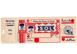 ANTIGUA ENTRADA OLD TICKET CORRIDA DE TOROS PLAZA DE ÉCIJA (SEVILLA) ESPAÑA SPAIN BULLFIGHTING AÑO YEAR 1936 VER FOTO/S - Tickets - Entradas