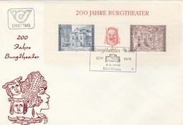 1976 AUSTRIA FDC Miniature Sheet BURGTHEATER Theatre Stamps Cover - FDC