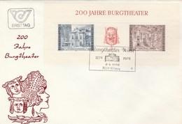 1976 AUSTRIA FDC Miniature Sheet BURGTHEATER Theatre Stamps Cover - Theatre