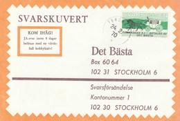 1970 Forshed SWEDEN COVER Svarslosen COIL Stamps HORSE CARRIAGE - Sweden