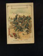 Ancien Chromo-chocolat Margirier-Annonay-lithographie Parisienne-Guerre De Chine-combat De Tien-Chouang-Taï - Autres