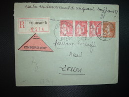 LR CR TP PAIX 50c X3 + SEMEUSE 25c OBL.14-4 33 FOURMIES NORD (59) A. MARCHANT Huissier - Posttarife