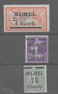 ·3 Sellos De Memel Nº Michel 31II, 84 Y 65 ** - Ocupación 1914 – 18