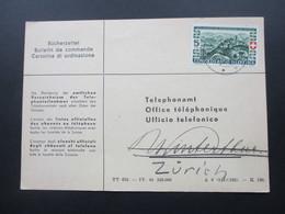Schweiz 1944 Postkarte / Bücherzettel An Das Telephonamt / Office Telephonique - Briefe U. Dokumente