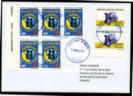 TCHAD Enveloppe Cover Abéché 13 05 2017 Timbres Thème TOUMAI Et SIDA AIDS Tarif France 1er échelon Moins De 10g - Tchad (1960-...)
