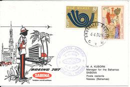 Belgium First Flight Cover Sabena Boeing 707 Bruxelles - Nassau Bahamas 4-4-1974 - Belgium