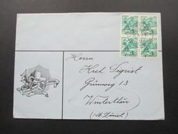 Schweiz 1942 Brief Des Turnverein St. Johann Basel Mit Wappen. Drache. 2 Senkrechte Paare!! - Briefe U. Dokumente
