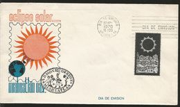 M) 1970 MEXICO, 1970 SOLAR ECLIPSE, WORLD MAP, BLACK CANCELATION IN THE FORM OF OVAL, FIGURE OF LARGE ORANGE SUN MIAHUAT - Mexiko