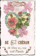 CPA (91) De Saint Cheron, Je Vous Envoie Ces Fleurs - Ajoutis Ruban Rose, Coeur En Relief - Saint Cheron