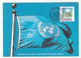 1991 LIECHTENSTEIN FDC Maximum Card  UNITED NATIONS DAY FLAG Stamps Cover Un - UNO