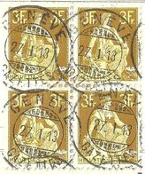 Helvetia Mit Schwert 116, 3 Fr.olivgelb  (GENÈVE GAZETTES / Viererblock)          1913 - Suisse