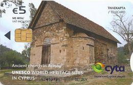 Cyprus - Cyta - Unesco Heritage - Ancient Church In Asinou - Fv.5€, 04.2012, 75.000ex, Used - Cyprus