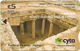 Cyprus - Cyta - Unesco Heritage - Tombs Of The Kings In Paphos - Fv.5€, 04.2012, 75.000ex, Used - Cyprus