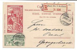 UPU 5 C Vert 2 VII 1900 Sur Entier Postal UPU 10 C Rouge, Recommandé, Premier Jour Timbre Et Entier Postal, Ersttag - 1882-1906 Armoiries, Helvetia Debout & UPU