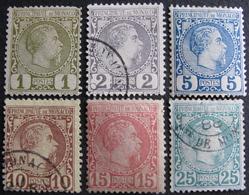 LOT FD/1504 - 1885 - MONACO - CHARLES III - N°1 à 6 NSG/☉(petits Défauts Sur N°1 Et 6) - Cote : 823,00 € - Neufs
