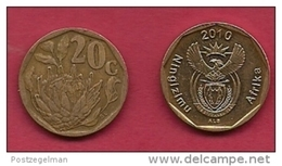 SOUTH AFRICA, 2010, 3 Off Nicely Used Coins 20 Cent C2106 - Zuid-Afrika