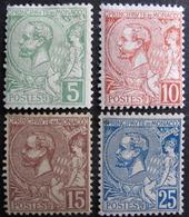 LOT FD/1506 - 1901 - MONACO - ALBERT 1er - N°22 à 25 NEUFS**/* (SERIE COMPLETE) - Cote : 33,50 € - Neufs