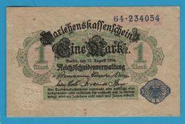 DEUTSCHES REICH 1 Mark 12.08.1914 Serial# 64.234054 P# 52 Reichsschuldenverwaltung - [ 2] 1871-1918 : German Empire