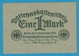 DEUTSCHES REICH 1 Mark 15.09.1922 P# 61 Reichsschuldenverwaltung - [ 3] 1918-1933 : Weimar Republic