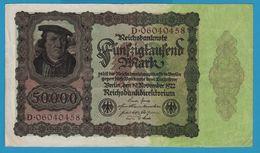 DEUTSCHES REICH 50000 Mark 19.11.1922No D.06040458 P# 79  (Reichsdruck) - [ 3] 1918-1933 : Weimar Republic