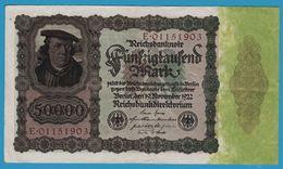 DEUTSCHES REICH 50000 Mark 19.11.1922No E.01151903 P# 80 Bürgermeister Brauweiler - [ 3] 1918-1933 : Weimar Republic
