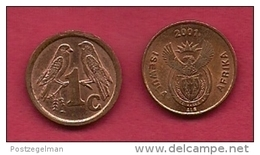 SOUTH AFRICA, 2001, 5 Off Nicely Used Coins 1 Cent Birds C2165 - South Africa