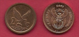 SOUTH AFRICA, 2001, 5 Off Nicely Used Coins 2 Cent C2157 (new Coat Of Arms) - South Africa