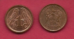 SOUTH AFRICA, 1998, 5 Off Nicely Used Coins 1 Cent Birds C2162 - South Africa